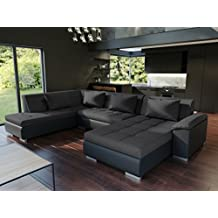 2862a1fd08813 tendencio Canapé d angle panoramique Convertible Lemon Noir Style Moderne  et Design Angle Gauche