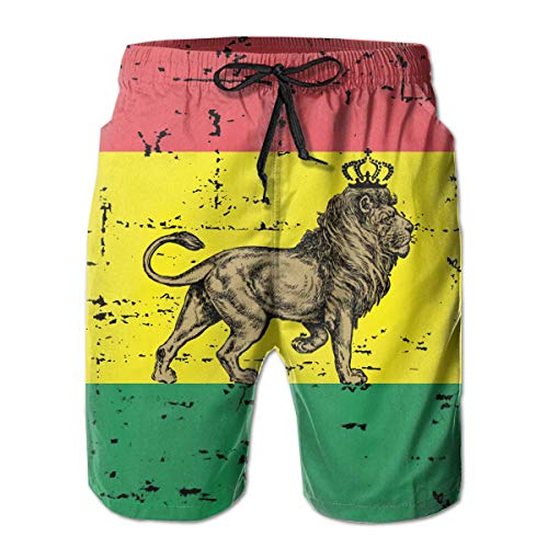ef63f6bef291 Harry wang Men s Rasta Cool Lion Jamaica Flag Beach Surfing Board Shorts  Swim Trunks PantsSize S