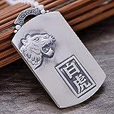 MAFYU Hohe Qualität S999 Sterling Silber Männer Retro-Dominant Geprägte Grüne Drachen Weiß Tiger Matte Anhänger Halskette