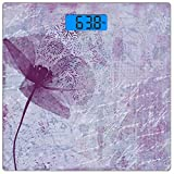 Escala digital de peso corporal de precisión Square Amapola Báscula de baño de vidrio templado ultra delgado Mediciones de peso precisas,Poppy Flower Artwork con poesía Patrón Romance Tema Floral Arts