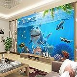 LYBH Fond d'écran 3D mural auto-adhésif fond photo 3D mignon requin papier peint monde sous-marin peinture murale papier peint enfants chambre à coucher maternelle TV fond bande dess520x290 cm (LxH)