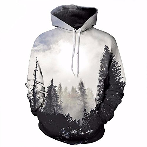 New Fashion Autumn Winter Men/women Sporting Thin Sweatshirts With Hat 3d Print Trees Hooded Hoodies Tops Pullovers