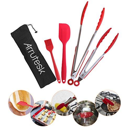 Arrutesk SilikonKüchenzange, Kochen BeefsteakZubehör-- Set von 3 KüchenSperrzangen, 1 Schaufel, 1 Bürste- für BBQ Grill, Kochen Beefsteak, Backofen, Salat Beefsteak Gemüse Pasta, Fisch Dienst EdelstahlW/SilikonTipps mit tragbarer Tasche