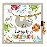 Goldbuch Tagebuch HAPPYlife, Faultier, 96 weiße Seiten, Mit Schloss, Grau/Weiß, 44580