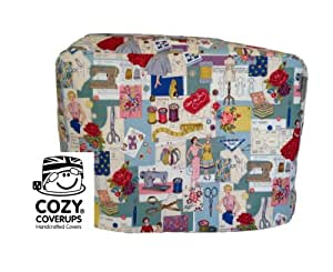 Handmade Sewing Machine CozyCoverUp® Dust Cover in 50's Sewing Images