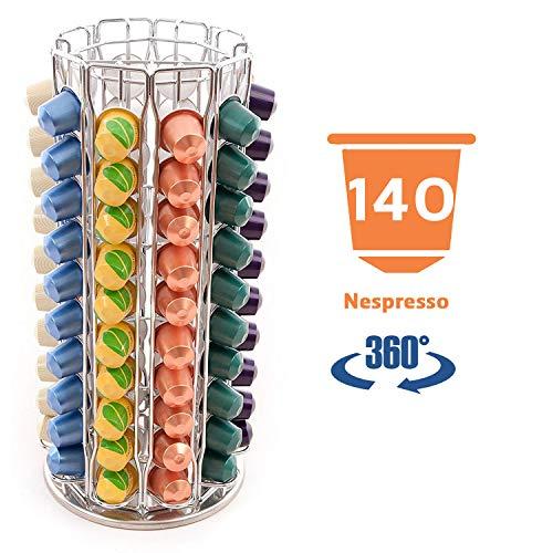 Peak Coffee N140 - Nespresso Soportes para 140 100 cápsulas de café, color plateado