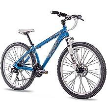 '26pulgadas aluminio MTB Mountain Dirt Bike Bicicleta CHRISSON Rubby Unisex con 24g Shimano 2x Disk Azul Mate