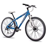 26 Zoll ALU MTB MOUNTAIN DIRT BIKE FAHRRAD CHRISSON RUBBY UNISEX mit 24G SHIMANO 2xDISK blau matt