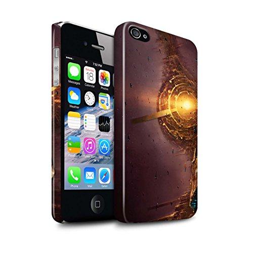 Offiziell Chris Cold Hülle / Glanz Snap-On Case für Apple iPhone 4/4S / Entfernten Stern Muster / Galaktische Welt Kollektion Raumfahrzeug