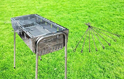 WAGNER Grill Schaschlikgrill Mangal Barbecue Holzkohlegrill Edelstahl inkl. 8 Grillspieße