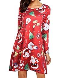 TianBin Las Mujeres Swing Vestido Manga Larga Flared Vestidos de Fiesta de Las Señoras Estampado de
