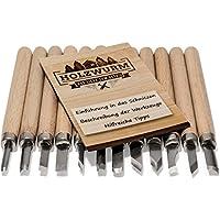 Holzwurm - Herramientas de corte. Juego de 12piezas, incluyeinstrucciones (idioma español no garantizado), para principiantes y profesionales, cuchillo para madera, frutas y verduras