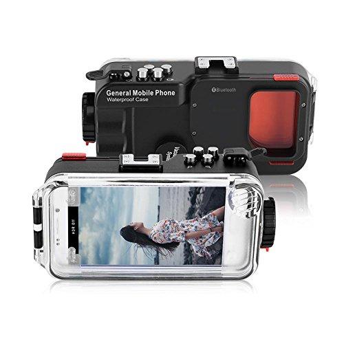 VBESTLIFE Unterwasser Handy Hülle für Tauchen,130ft Telefon Fall Wasserdicht Tauchen Telefon Fall Telefon Objektiv Schutz Shell für Android Phone(Schwarz)