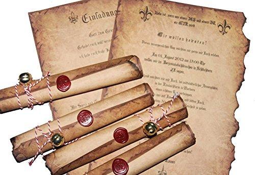 """Einladungskarten Rollen """"Mittelalter"""" Hochzeit Geburtstag Firmenevent Burg Schloss historisch Siegelstempel Wachs Glöckchen Auswahl Anzahl Buchstabe Anrede"""