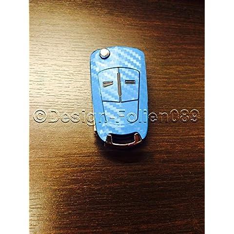 Pantalla de carbono/Decoración cielo azul llave Key Opel Astra Corsa D GTC B Vauxhall H Vectra C VXR Zafira OPC de 2y 3Botón Llave, etc.)