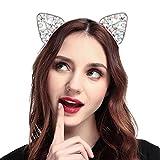 Simsly Cristal Chat oreille Bandeau Cat Serre-tête Bandeau pour fête et Quotidiennes de décoration pour les femmes et les filles