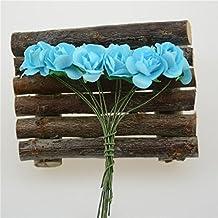 HJFF-12pcs/lote Mini rosa de papel hacen de bouquet de flores artificiales decoración de boda ,AZUL