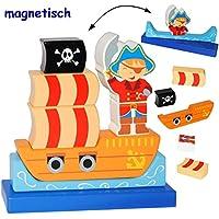 Preisvergleich für alles-meine.de GmbH 3-D Puzzle - magnetische Holz Bausteine & Klötze mit Magneten - Pirat & Pira..