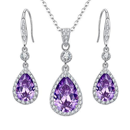 ckset 925 Sterling Silber Hochzeit Braut Zirkonia Infinity Teardrop Anhänger Halskette Haken Baumeln Ohrringe Set Amethyst-Lila ()