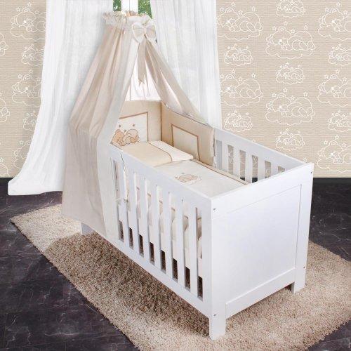 8-tlg. Bettsetpaket Sleeping Bear in beige inkl. Wickelauflage, Decke und Kissen
