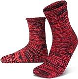 normani Warme Wintersocken mit Schafwolle - 1 oder 2 Paar - Wollsocken für Damen und Herren [Gr. 35-50] Farbe Rot/Schwarz Größe 43-46