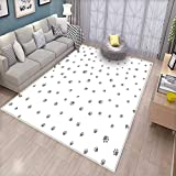 ziHeadwear Dog Lover Anti-Static Area Rugs Foot Prints of an Animal Pet Canine Marks Abstract Nature Themed Illustration Children Kids Nursery Rugs Floor Carpet Grey White