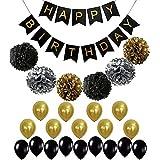 Birthday Balloons 25PIECE/set con fiore di carta bandiera striscione di pull sfera nero oro palloncini a elio per feste e decorazioni per feste
