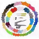 CLE DE TOUS - 27 colores T5 Snaps botón Plastico con Alicates Pinza de presión a mano (405pcs colores mezclados T5 Snaps + Alicate Tool)