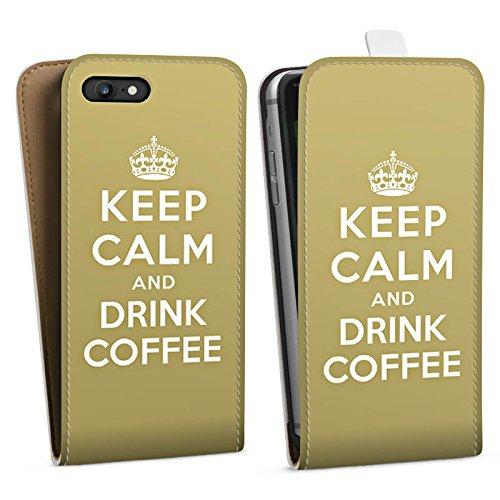 Apple iPhone X Silikon Hülle Case Schutzhülle Keep Calm Kaffee Coffee Downflip Tasche weiß