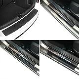 Carbon Style Einstiegsfolien & Ladekantenschutz Set mit Chrom-Schriftzug für Polo (6R) 5 Türer