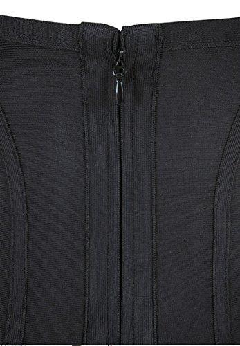 Rayon less Whoinshop donne low-cut Sling Back Bodycon benda-abito da cocktail Nero