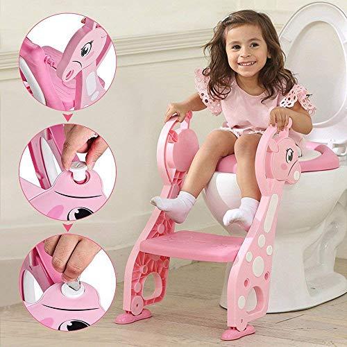 Töpfchentrainer Kinder Töpfchen Traniner Einstellbar Toilettensitz mit Leiter Töpfchen Sitz mit Treppe für 1-7 Kinder (Rosa)