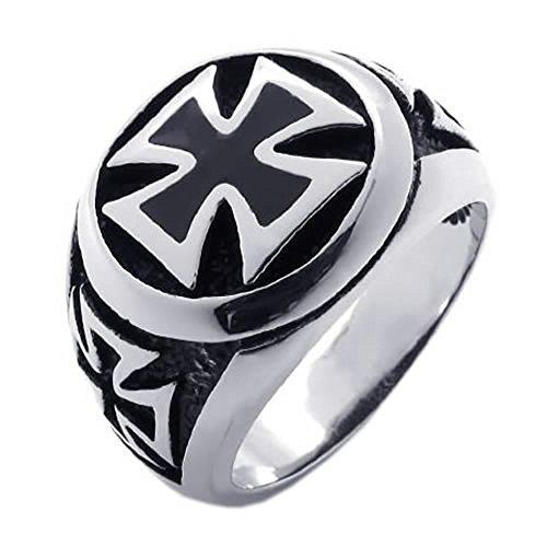 KONOV Schmuck Herren-Ring, Damen-Ring, Edelstahl, Kreuz, Schwarz Silber - Gr. 70