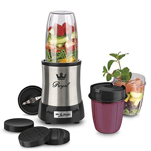 GOURMETmaxx 09833 Nutrition Mixer Royal | Edelstahl | inkl. To-Go Becher | Ideal für Smoothies & Cocktails | 8 teiliges Set | 7 Funktionen | 700 Watt | Silber