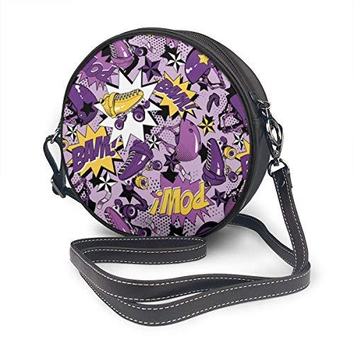 fhjhfgjghfjghfj Women Round Crossbody Bag Umhängetasche, Roller Skate Handbag Purse Single Shoulder Bag PU Leather Chain Strap Handle Tote -