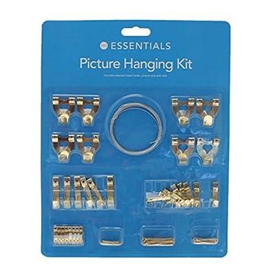 Ardisle 60 Picture Hanging Kit Mirror Photo Frame Brass Set Hooks Nail Level Wire Hanger -Single & Double Hooks - low-cost UK light shop.