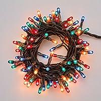 Catena natalizia 3,1 m, 100 minilampade multicolor, cavo verde, con controller, luci di Natale, decorazioni luminose