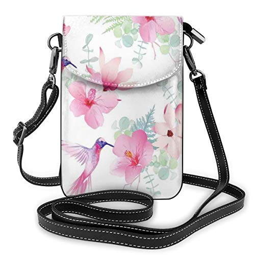 Jiger Women Small Cell Phone Purse Crossbody,Tropical Flowers With Flying Hummingbirds Wild Nature Blooms Theme -