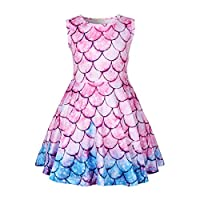 Thombase Little Mermaid Dress Ariel Costume Outfit Playwear Birthday Party Cosplay Nightdress (Pink, 120(4-5years))
