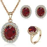 Yoursfs Prinzessin Kate Style Red Simulierter Diamant-Halskette Ohrring und Ring Engagement setzt Größe 18