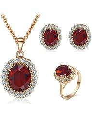 Yoursfs chapado en oro del perno prisionero rubíes ovalados cristal y el anillo y el regalo del día de San Valentín Conjunto de collar