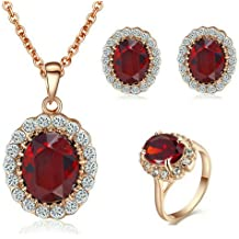 49304b5169c2 Yoursfs conjonto de joyas collar mujeres anillos mujer pendientes mujer oro  rosa 18k joyas set mujer