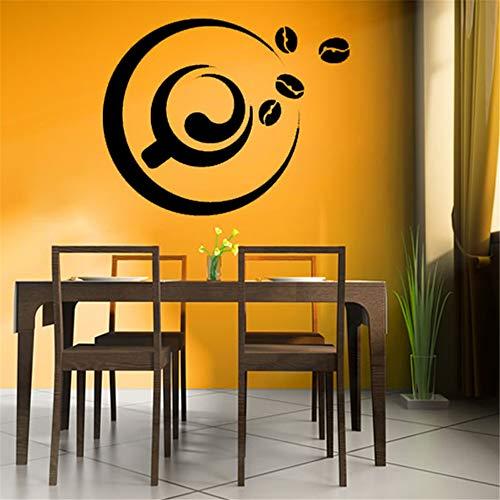yiyiyaya Eine Tasse Kaffee Und Kaffeebohne Wandaufkleber Abnehmbare wasserdichte Coffee Shop Küche Fliesen Aufkleber Wandtattoo Kunst Wandbilder gelb 36x29 cm (Awesome Sister-kaffee-tasse)