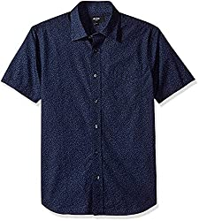 Jack Spade Mens Clift Short Sleeve Confetti Print Point Collar Shirt, Indigo, Large