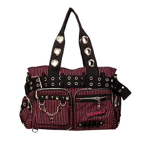 Banned - gestreifte Handtasche / Schultertasche Schwarz Rot