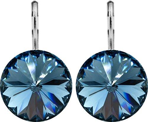 petra kupfer Damen Ohrringe Ohrhänger Rivoli 1 Swarovski®-Kristall 14 mm Jeans Blau Denim Blue Versilbert hk14tb-denim-blue