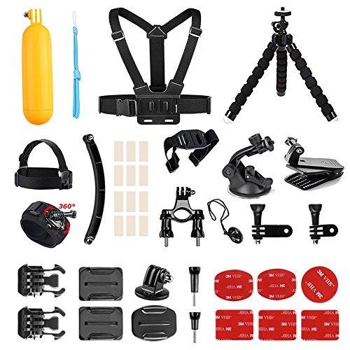 AKASO Zubehör-Set für GoPro HERO / AKASO, Vemont, Victure, Apeman, VicTsing, WiMiUS, ODRVM, Bopower Action-Kameras, mit Brustgurt, Saugnapf, Fahrrad-Halterung, Anti-Fog-Einsätzen