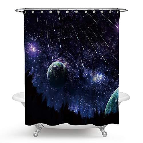 Jayea Stern Duschvorhang,3D Meteor Dusche Druck Innendekoration 100% Polyester Wasserdicht Mehltau Waschbar Bad Vorhänge Innendekoration,Blue,180 * 180Cm