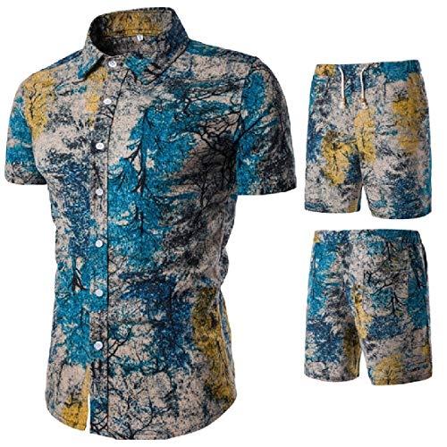 UUGYE Herren Casual Big & Tall Shirt 2 Stück Outfits Ethnic Print Shorts Trainingsanzug Gr. US L, 3 (Tall-herren-trainingsanzüge Big-und)
