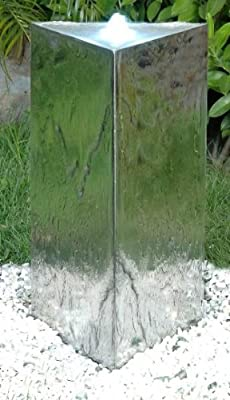 Triangular Stainless Steel Pillar Water Feature with LED Lights by Primrose